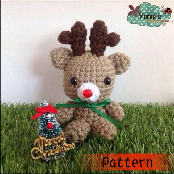 Rudy Reindeer Amigurumi : Crochet Reindeer Pattern Crochet Rudolph Amigurumi ...