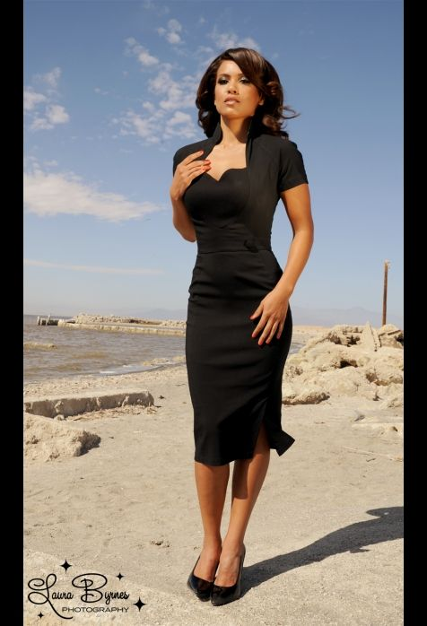 Veronica Dress in Black with Black Ponte Heart and Button