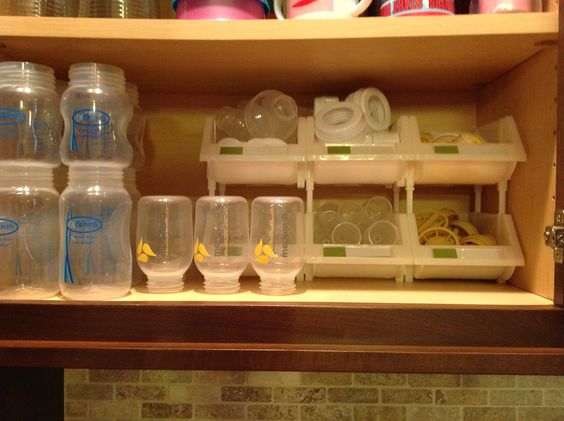 Dr. Brown bottle organization using stacking bins from Container Store #ContainerStore #stackingbins