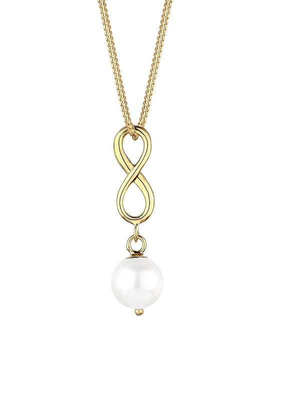 Verliebe dich in diese traumhaft luxuriöse Infinity-Kette aus vergoldetem 925er Sterling Silber und einer glänzenden Süßwasserzuchtperle. Der feine Halsschmuck legt sich weich um deinen Hals und schmückt dein Dekolleté glamourös und extravagant. Das feminin geschwungene Unendlichkeitszeichen, an dem die Perle freischwingend angebracht ist, ist ein zeitloser Klassiker und macht dich zum Star des...