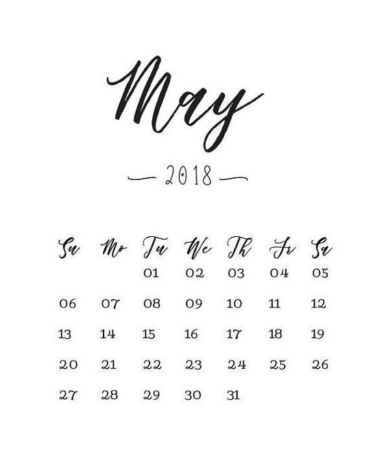 May 2018 Calendar Print Gender Reveal Pregnancy