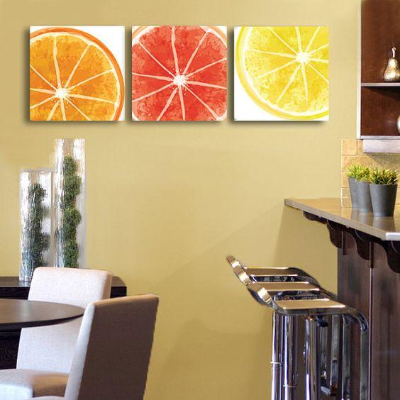 Set Of 3 Citrus Design Canvas Wraps