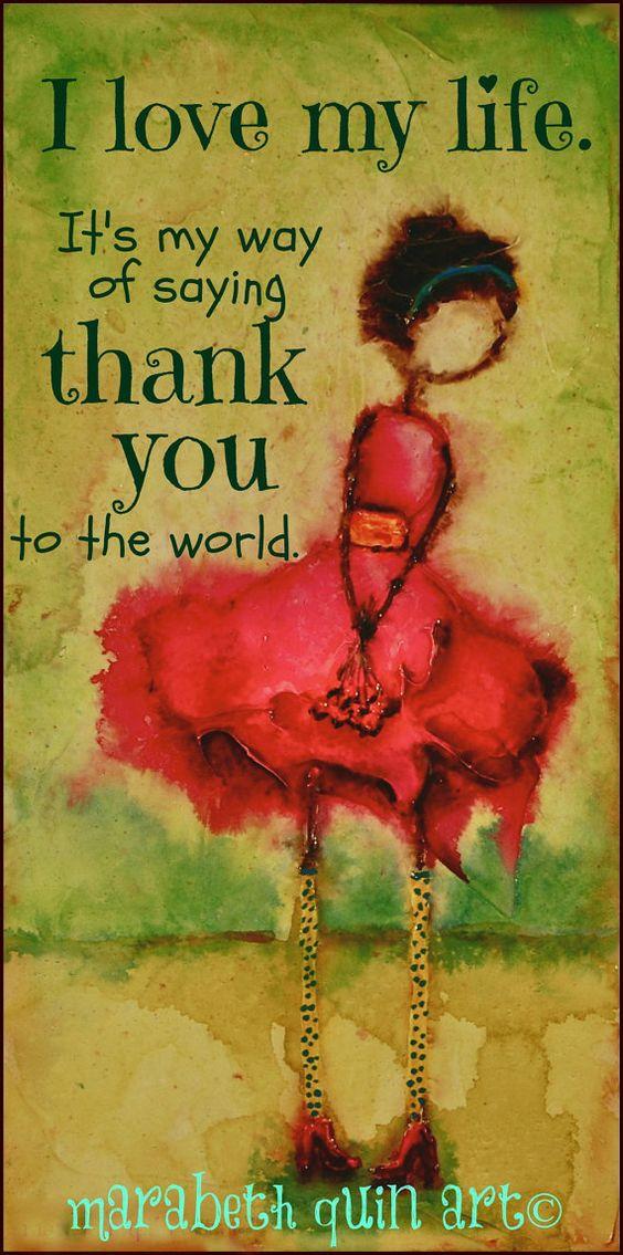12 x 6 (taille approximative) impression de lunatique, coloré et joyeux oeuvre « Merci au monde » par Marabeth Quin