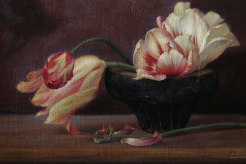 Tulips in a Stone Bowl by Kamille Corry: