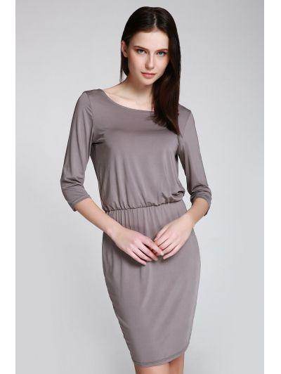 Open Back 3/4 Sleeve Bodycon Dress GRAY: Bodycon Dresses | ZAFUL