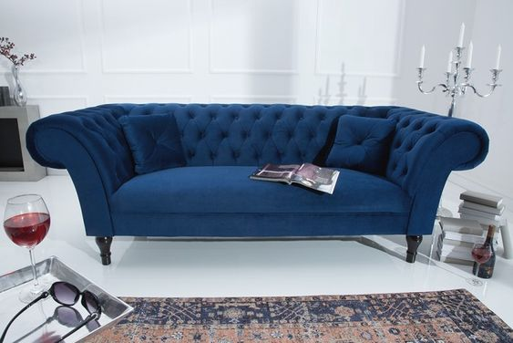 Chesterfield Sofa Contessa Samt Konigsblau Mit 2 Kissen Sofa Love Seat Chaise Lounge