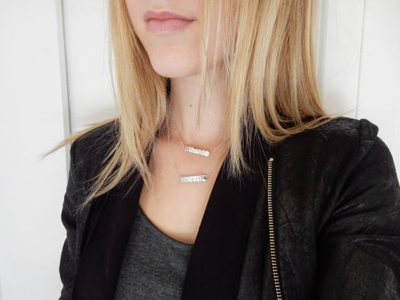 Silver Side Bar Necklace Layered Bar Necklace by JQvancouver