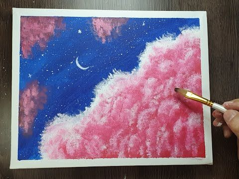 رسم غيوم وردية بالالوان الاكريليك رسم بالالوان الاكريليك سهل للمبتدئين Youtube Painting Art Acrylic Painting