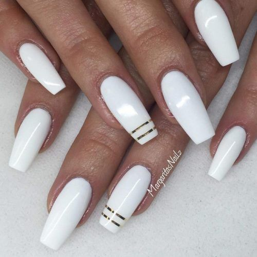 The Most Stylish Ideas For White Coffin Nails Design White Coffin Nails Classic Nails Coffin Nails Designs