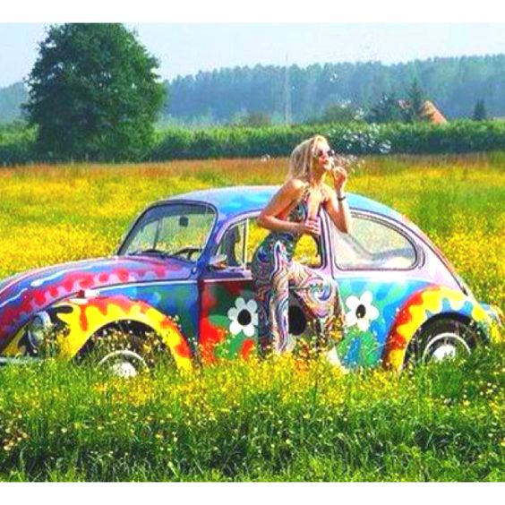 """Painted VW  Bug's were a hit with Hippies in the 70's. This one is not """"hand painted""""like the,""""Real"""" Hippie style of painted VW's...but it is cute! ♠... X Bros Apparel Vintage Motor T-shirts, VW Beetle & Bus T-shirts, Great price"""