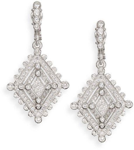 Judith Ripka White Sapphire Sterling Silver Deco Drop Earrings in Silver