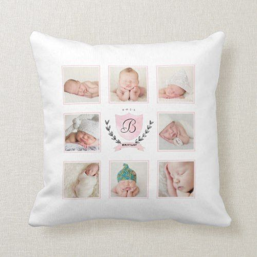 Personalized Baby Girl Photo Collage With Wreath Throw Pillow Zazzle Com Personalized Baby Girl Personalized Baby Boy Baby Girl Photos
