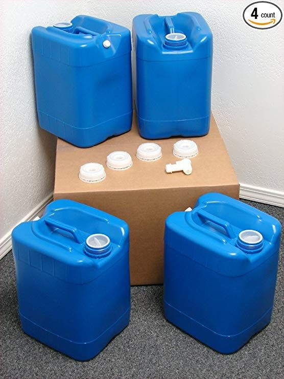Api Kirk Containers 5 Gallon Samson Stackers Blue 4 Pack 20 Gallons Emergency Water Storage Kit New Water Storage Containers Water Storage Storage Kits