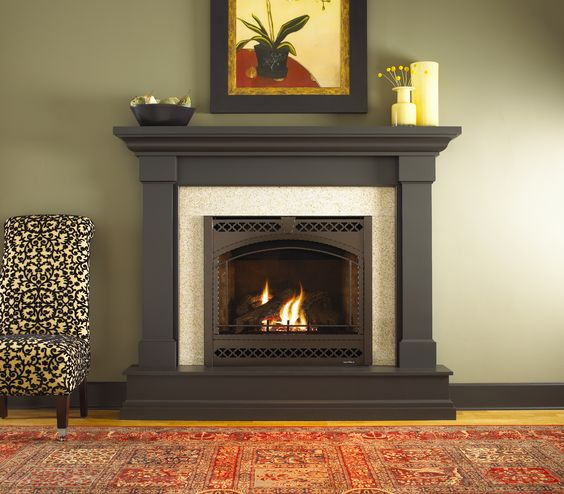 Kenwood Wood Mantel By Heat N Glo Dark Stain Fireplace