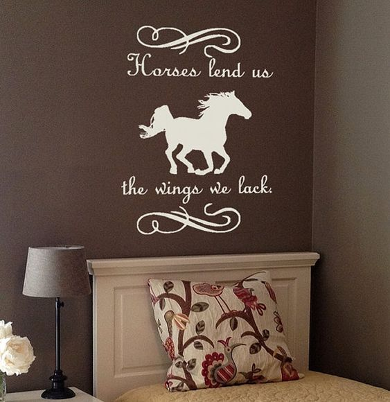 Wall Decal Quote  Horse decal with Quote  by TenaciousQuotations, $24.95 Horses lend us the wings we lack.: