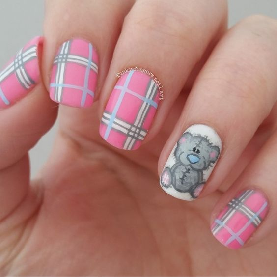Teddy Bear And Tartan Nails Nail Art By Funky Fingers Nail Art