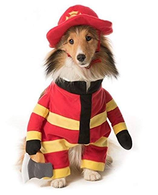 Thrills Chills Stand Up Firefighter Pet Dog Halloween Costume