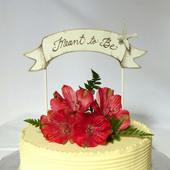 Meant to Be, doesnt this just sum up your love for each other? This entirely hand crafted wedding cake banner/ topper has been cut by me on my