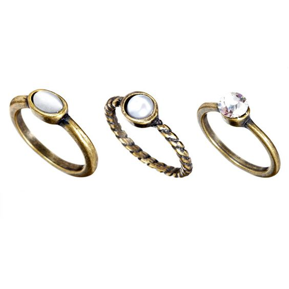 Pieces Multi Stack Ring Set ($3.80) ❤ liked on Polyvore featuring jewelry, rings, accessories, joias, acessorios, pieces jewelry, stacking rings jewelry, round ring and stackable rings