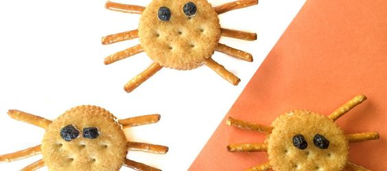 These Halloween Spider Cracker Snacks are an easy kids recipe that they can make themselves for a somewhat healthy snack.