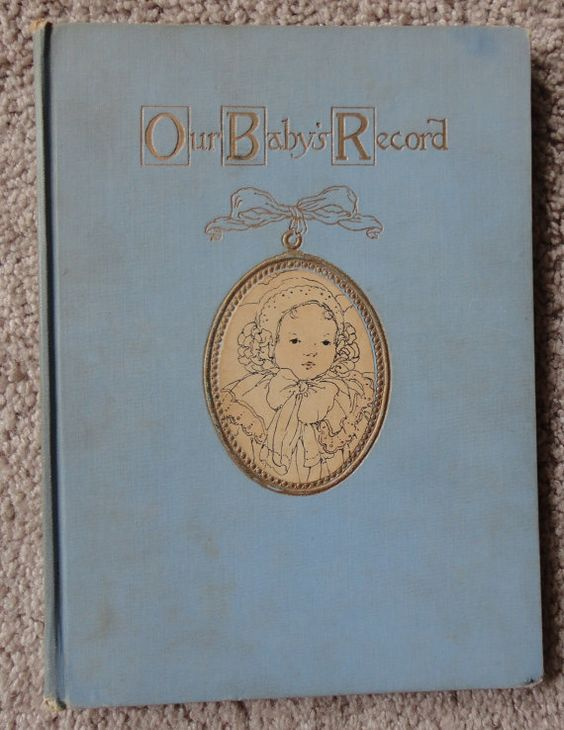 Antique Blue Baby Book From Year 1913 Pictures, Lace, Stories Very Unique by CoolCoolVintage, $15.00