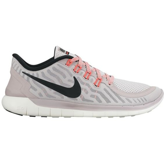 Nike Free 5.0 Women's Running Shoes , Purple (190 CAD) ❤ liked on Polyvore featuring shoes, athletic shoes, purple, low profile running shoes, flat pumps, purple flat shoes, running shoes and purple flats