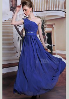 A line Floor Length One Shoulder Natural Waist Chiffon Evening Gowns With Beading - 1300306169B - US$219.99 - BellasDress