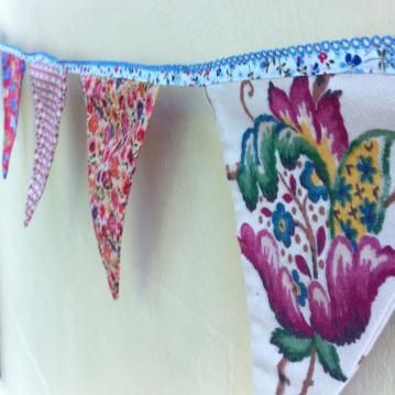 Handmade double sided floral bunting