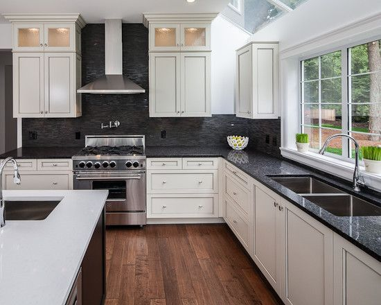 white-hanging-cabinet-finish-patterned-black-granite ... on Kitchen Backsplash With Black Countertop  id=12994