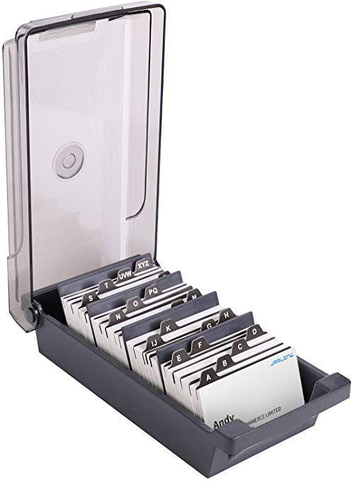 Jarlink Business Card Holder Name Card Organizer For Desk Storage Box Organizer Up To 500 Fit 2 2x3 6 Card Organizer Desk Organization Business Card Holders