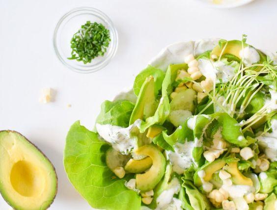 Summer Greens, Avocado, and Corn Salad with Yogurt Herb Dressing