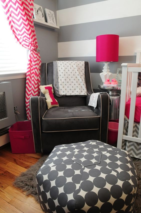 Gray nursery with pink accents - #grayandpink