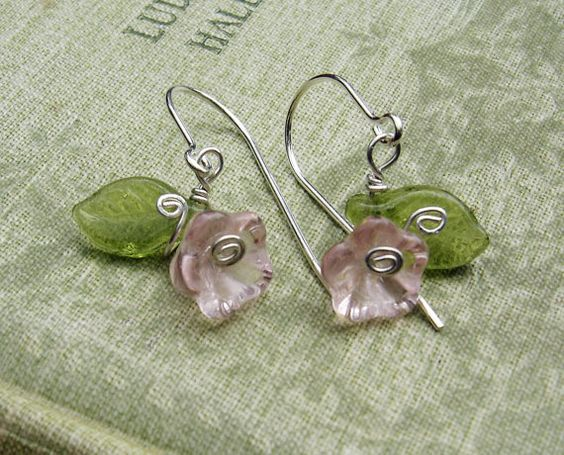 Sweet ,light and little...  Little Pink Glass Flower and Leaves Earrings  by nicholasandfelice, $ 12.50