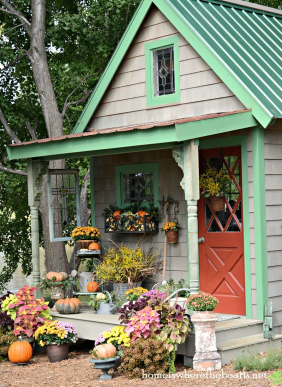 Decorating Around Harvest Gold Bathroom: Fall Around The Potting Shed With Mums, Pumpkins, Gourds