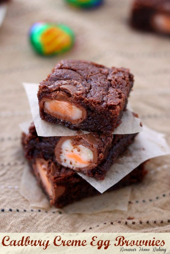 Rich, fudgy, irresistible and totally addictive brownies with Cadburry Creme Eggs baked inside.