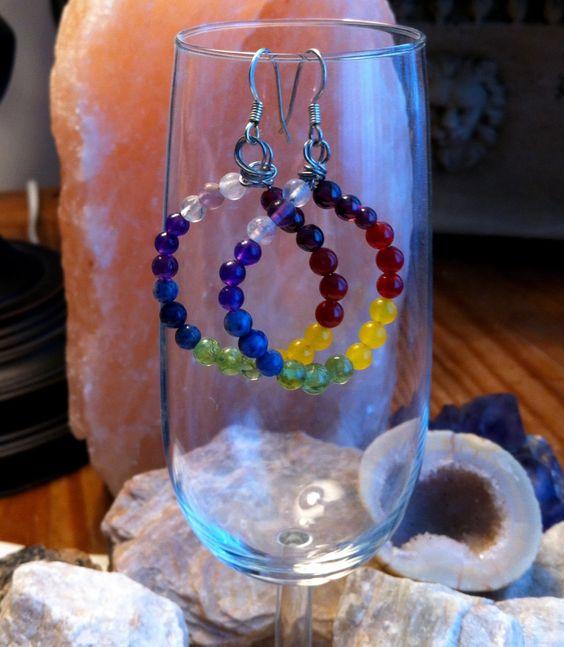 """2 1/2 """" Circular Chakra Earrings by AlisonsGemstones on Etsy"""