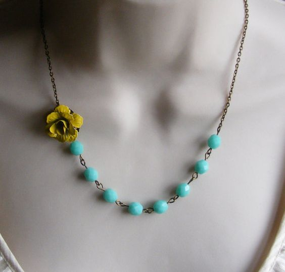 Sunny Yellow Flower Beaded Necklace with by lakeshorecreations4u, $28.00