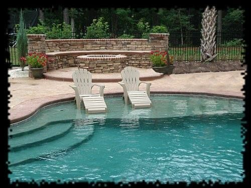Inground pool with tanning ledge life on the ledge for Pool design with tanning ledge