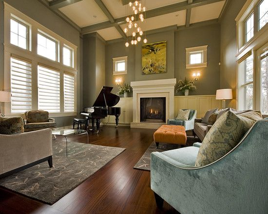 Living Room Sage Green Walls Dark Wood Floors Blue