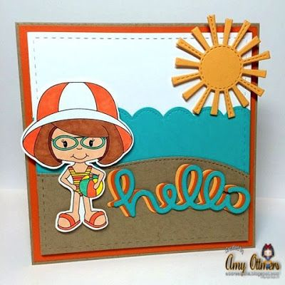 Our Hostess Monday designer Amy M Ottmers made this fantastic summer card using Beach Babe Britt http://digitaldelightsbyloubyloo.com/index.php…. Isn't it gorgeous!