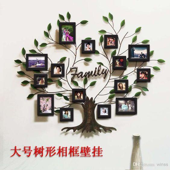 Schmiedeeiserne Möbel, Kreativ Malen Massivholz Rahmen Kombination Wand Metall Baum Fotowand Weiche Outfit