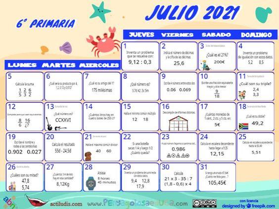 Calendario Sexto ABN – Julio 2021