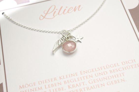 Namensketten - 925 Silber Kette ♥ Rosenquarz, Stern, Taufkette - ein Designerstück von Bloomgart bei DaWanda