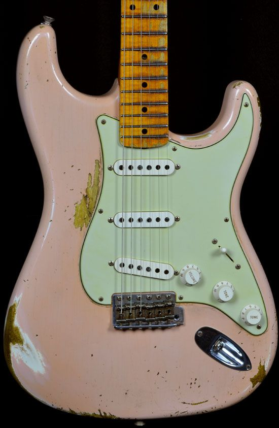 Wild West Guitars : Fender 1956 AA Flame Neck Heavy Relic Stratocaster Faded Shell Pink