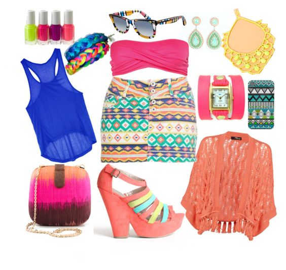 """Neon.Aztec.Ikat.Jungle♥ (My entry for the RayBan x Paradigma Giveaway)"" by haazeelnut on Polyvore"