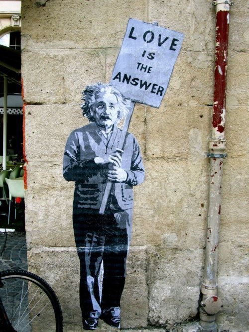 The Answer Is The Five Guardians Of The Frink Lanterns Or: Einstein + Banksy = Love (is The Answer)