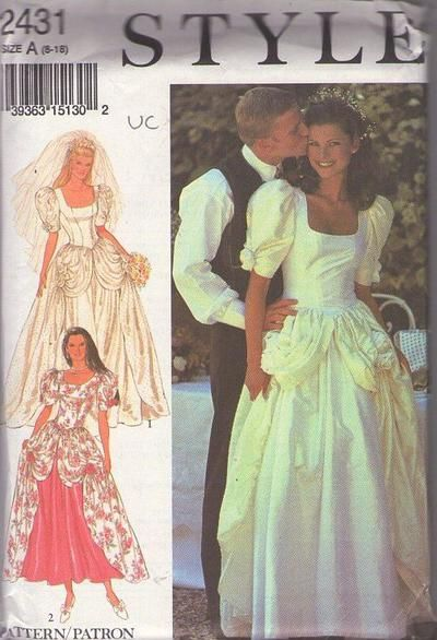 MOMSPatterns Vintage Sewing Patterns - Style 2431 Retro 90's Sewing Pattern One of a KIND Fancy Basque Waist Southern Belle Draped Overskirt...
