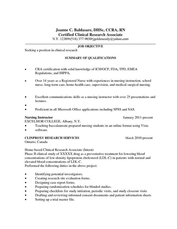 Health Care Resume Templates Research Coordinator Associate - clinical research resume
