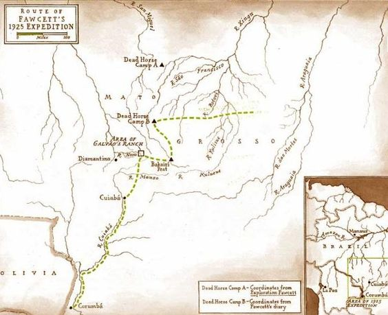A map of Percy Fawcett's 1925 route through the Amazon.: