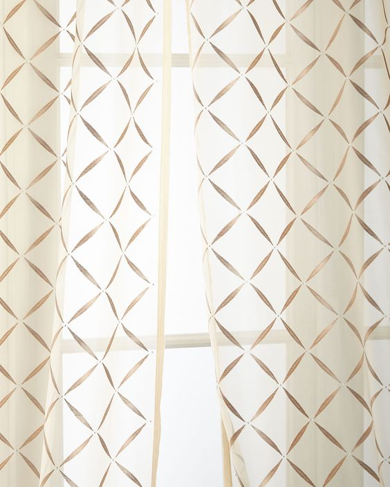 "50""W x 96""L Crystal Sheer, Beige - Home Silks"